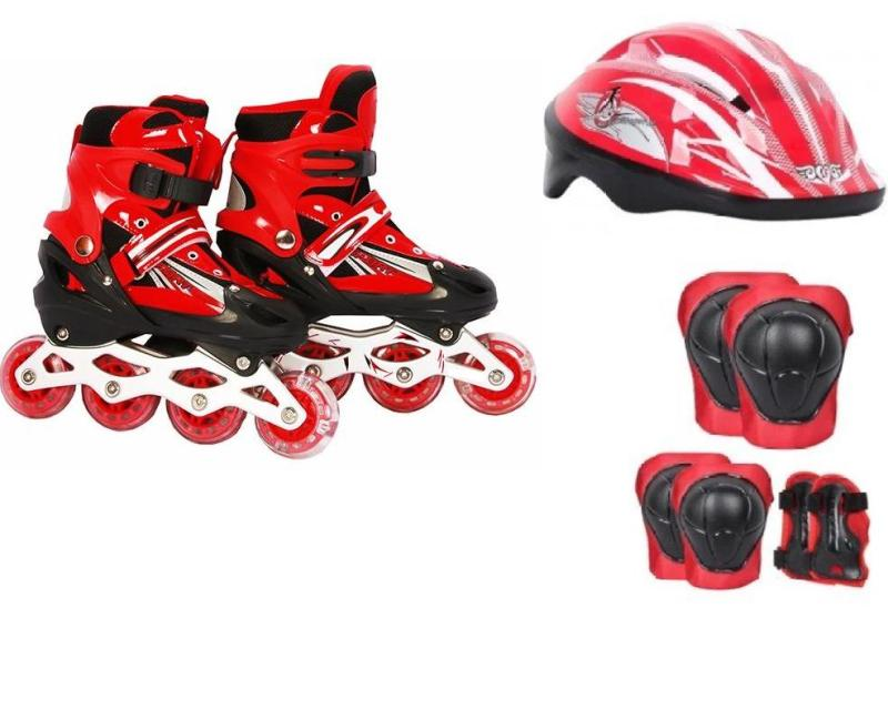 Phân phối Bộ đồ chơi patin ( giày trượt + bảo vệ tay chân + nón bảo hộ ) size M 35-38 ( đỏ )