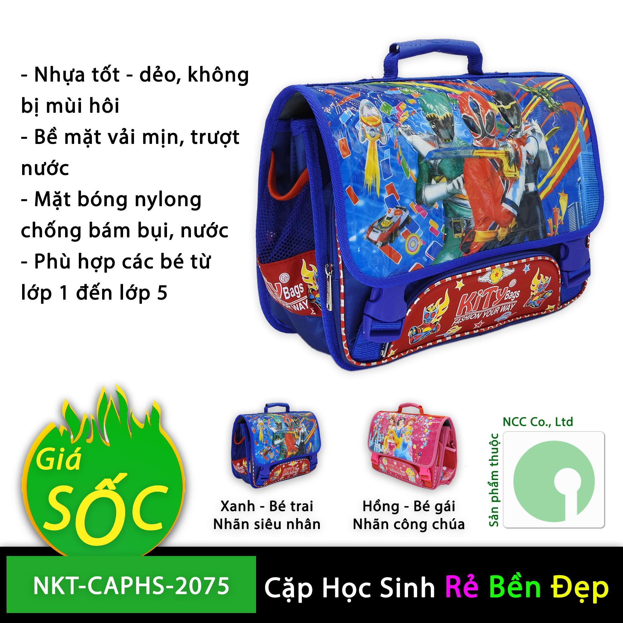 Giá bán Cặp táp túi đeo học sinh tiểu học trường lớp cấp 1 giá rẻ với nhiều ngăn tiện dụng - NKT-CAPHS