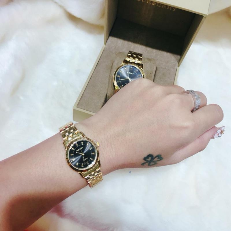 Đồng hồ nữ mạ vàng cao cấp Halei dây vàng mặt đen 502