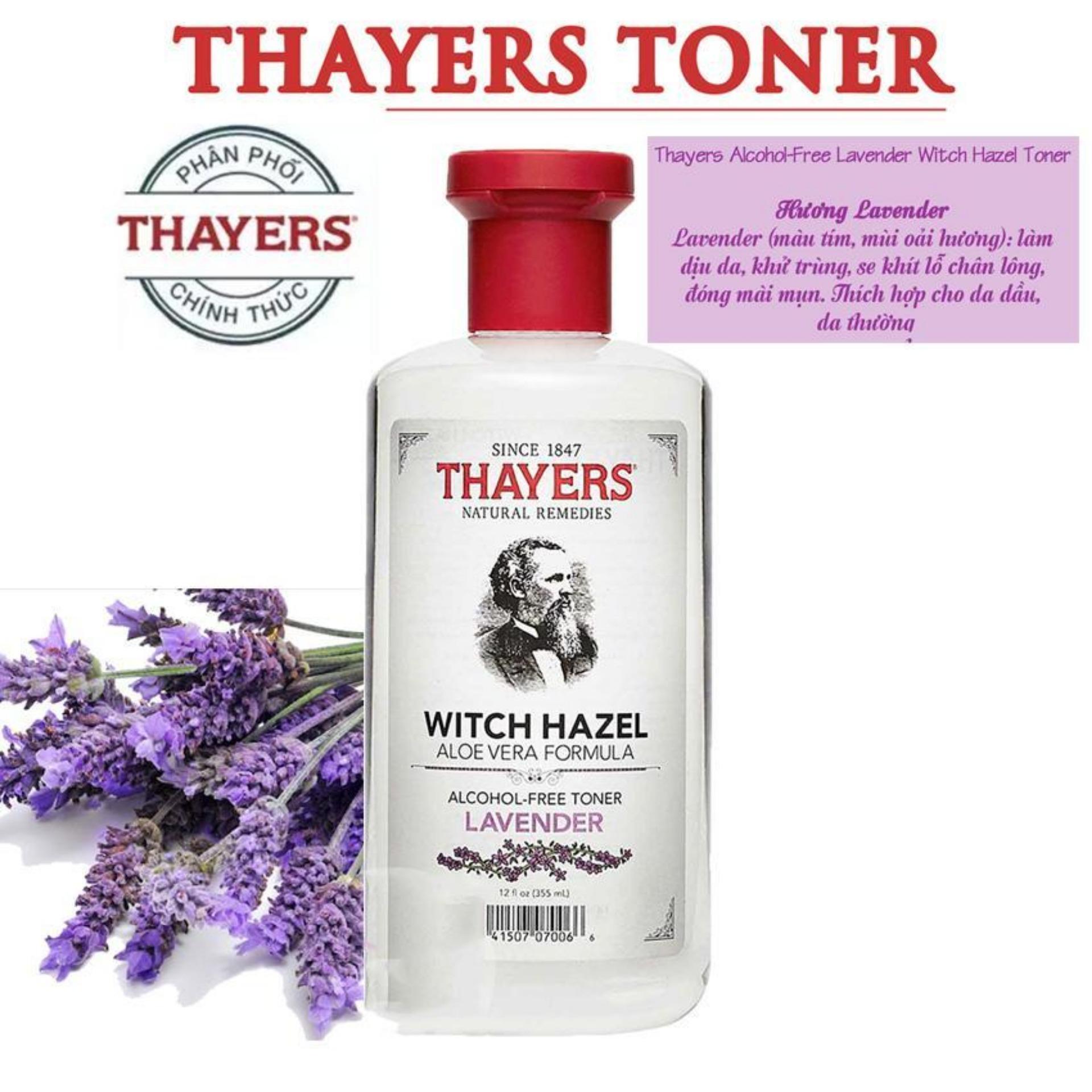 Nước hoa hồng không cồn hương Lavender THAYERS Alcohol-Free Lavender Witch Hazel Toner 355ml  (Dành cho da mụn)