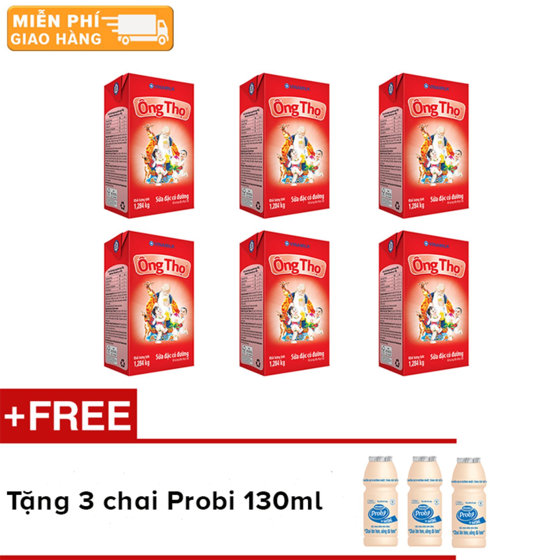Bộ 6 hộp sữa đặc Ông Thọ đỏ - hộp giấy 1284g + Tặng 3 chai sữa chua uống Probi 130ml