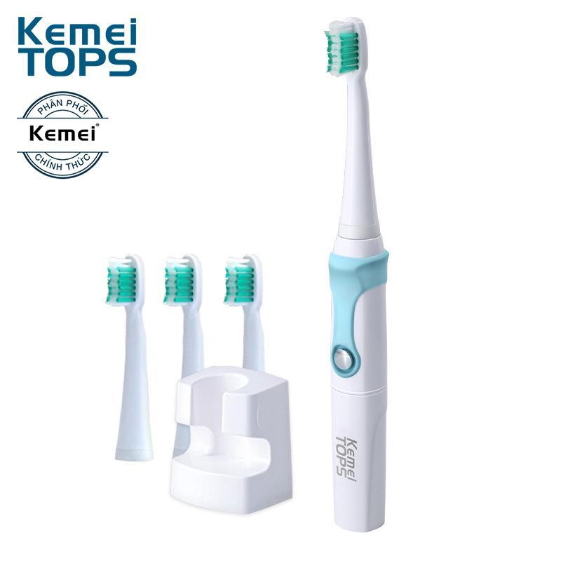 Bàn chải đánh răng điện Kemei KM-907 công nghệ siêu âm tích hợp sạc không dây cao cấp