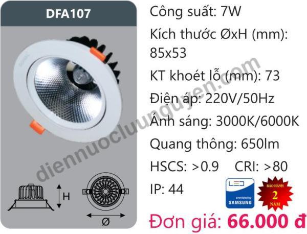 Đèn Led âm trần Downlight Tán Quang Chiếu Sâu 7W DUHAL DFA107