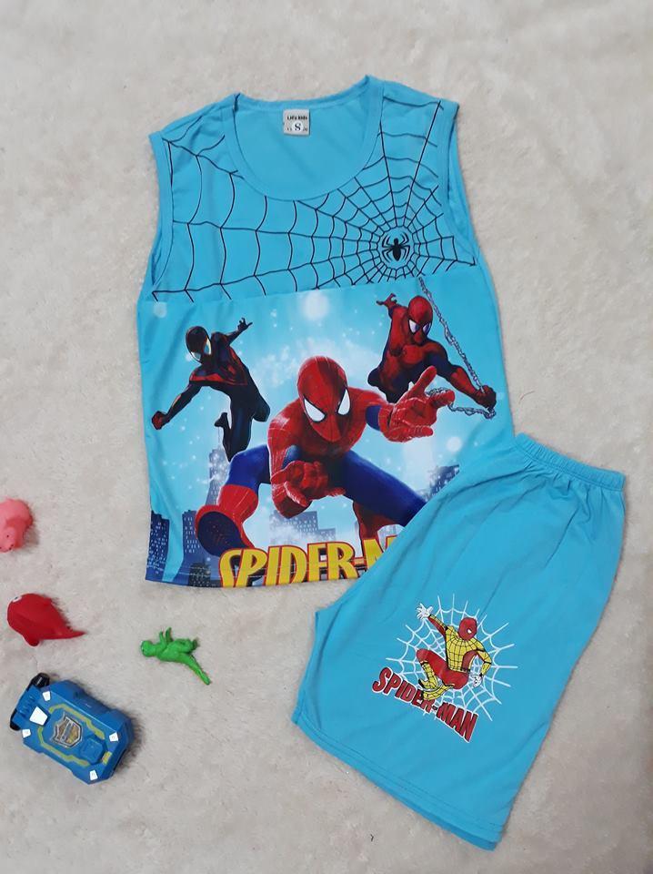 Hình ảnh Bộ thun bé trai áo sát nách quần sọt in hình 3D người nhện , size 25-30kg