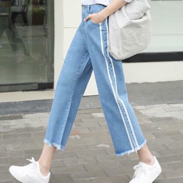 Hình ảnh Quần jeans xuông sọc hông VANASS VJ04