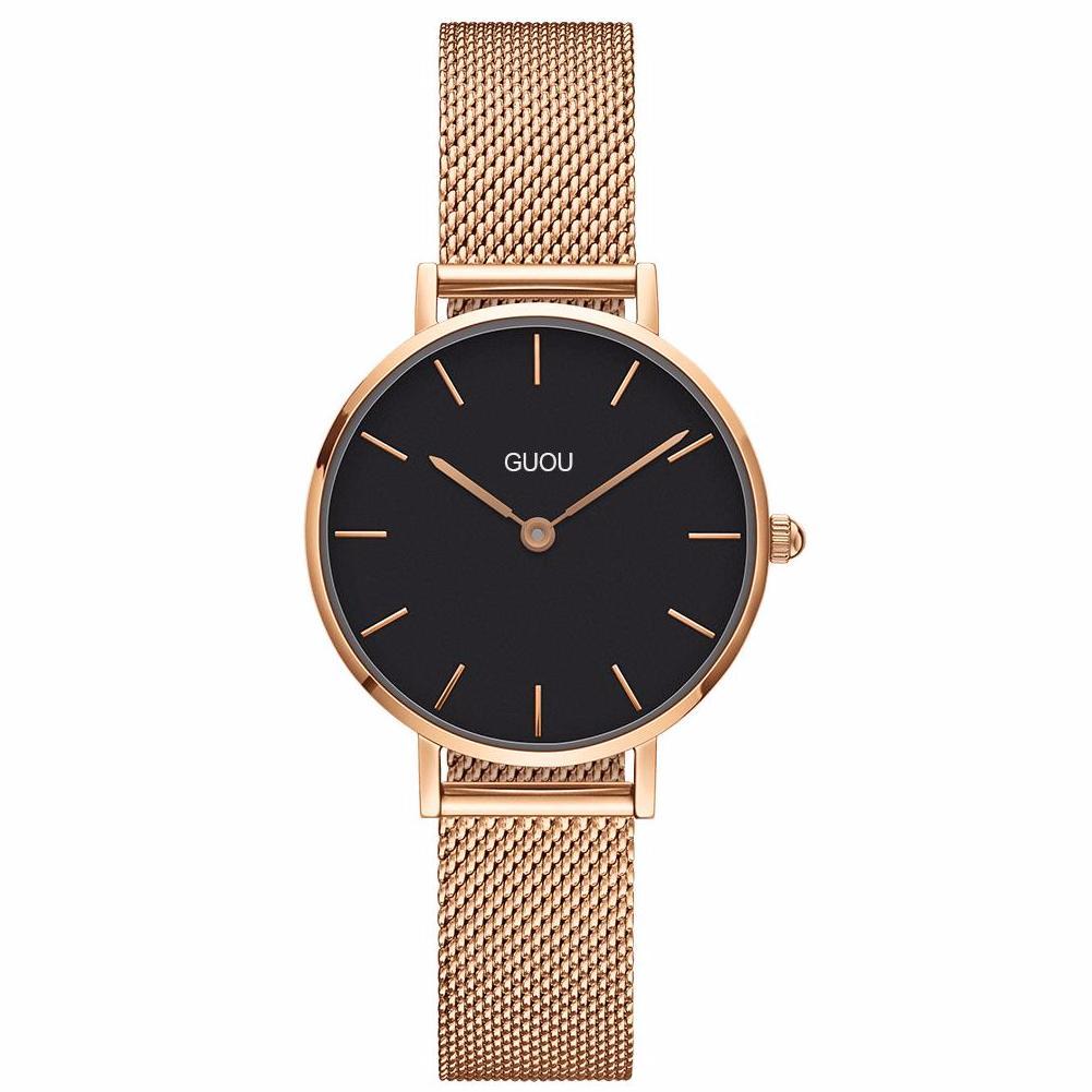 Đồng hồ nữ Guou G003 mặt mỏng cao cấp. Tặng kèm vòng tay thạch anh - Mặt trắng