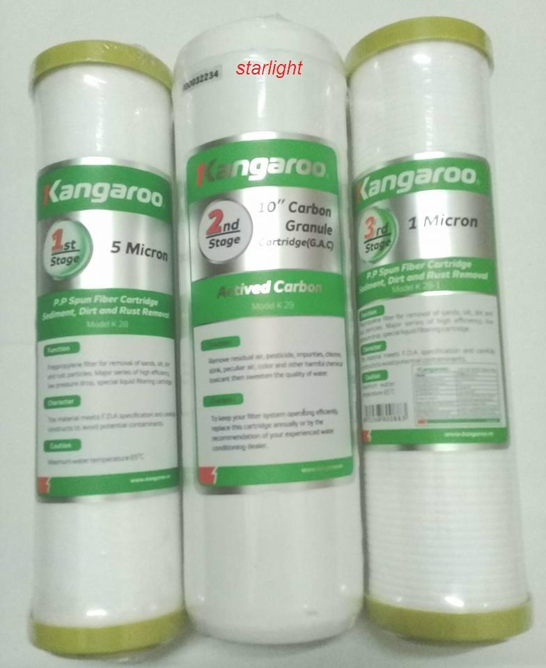 Hình ảnh Bộ lõi lọc nước kangaroo số 1,2,3 dùng cho máy lọc nước kangaroo -star