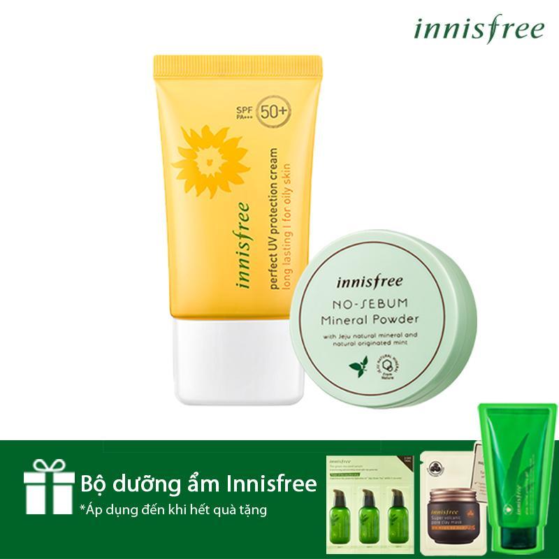 Mã Khuyến Mại Bộ Đoi Chống Nắng Kiềm Dầu Hoan Hảo Innisfree Perfect Uv Protection Cream Long Lasting Oily Skin Spf50 Pa 50Ml Innisfree No Sebum Mineral Powder 5G Qua Độc Quyền Rẻ