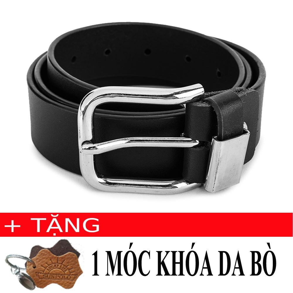 Thắt Lưng Nam Da Bo Khoa Kim Inox Sunpolo Bs03D Đen Tặng Moc Khoa Da Bo Nguyên