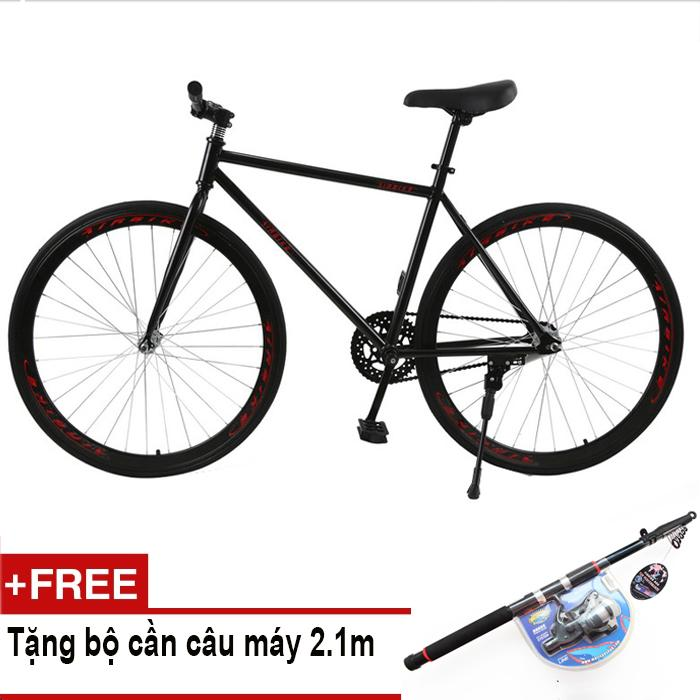 Xe đạp Fixed Gear Air Bike MK78 (đen) + Tặng bộ cần câu máy 2.1m