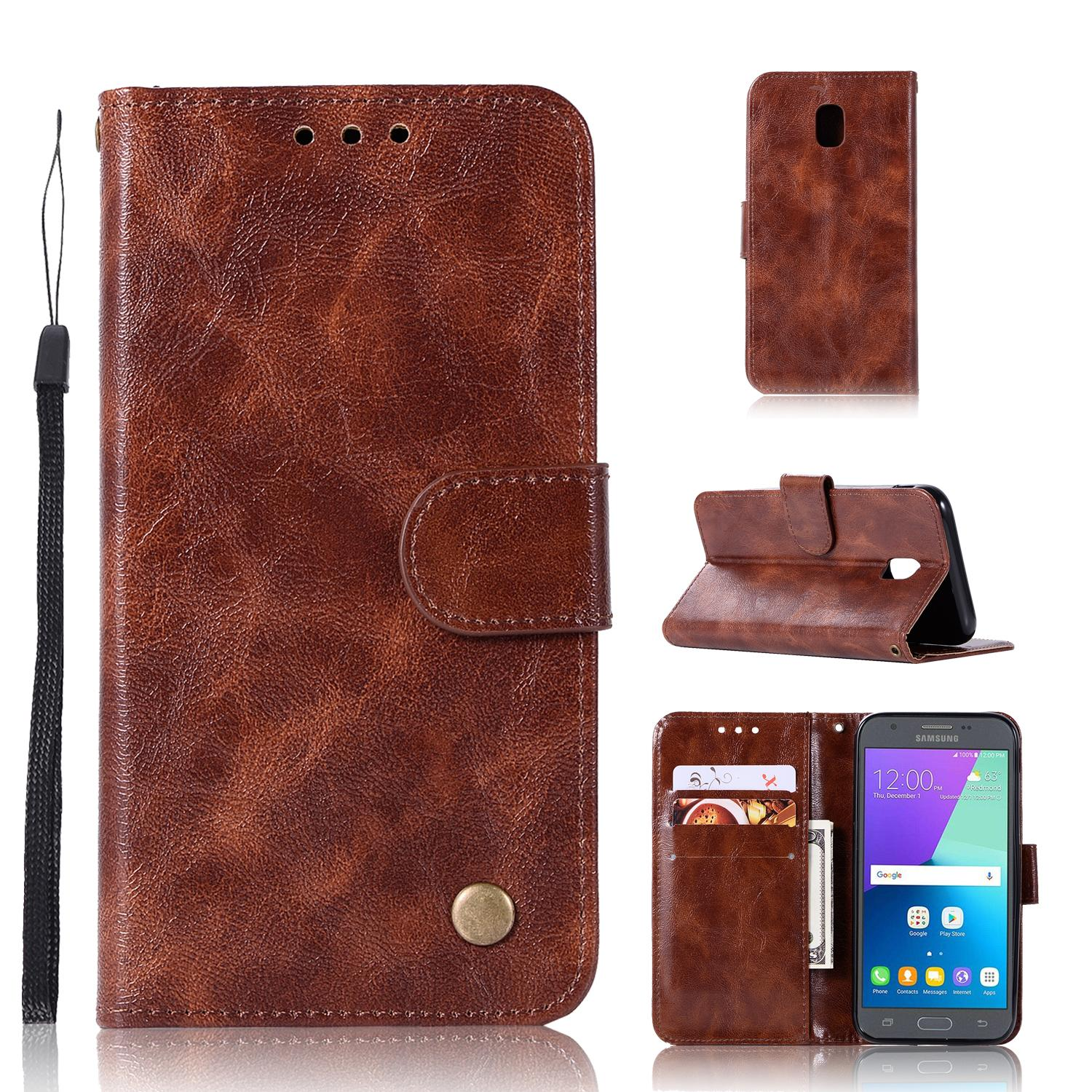 Casing For Samsung Galaxy J7 2017 (european) / J730 / J7 Pro 2017,reto Leather Wallet Case Magnetic Double Card Holder Flip Cover By Life Goes On.