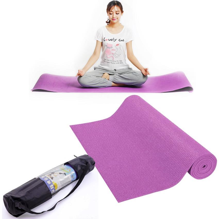 Hình ảnh thảm tập yoga cao cấp + 2 dây cột thảm tặng túi đựng thảm