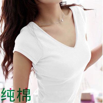 Gaya Korea pakaian musim panas lengan pendek warna putih katun murni membentuk tubuh netral minimalis Kerah ...