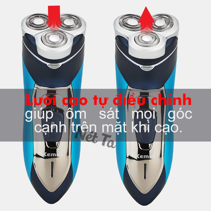 Máy cạo râu 3 lưỡi tròn chống nước cao cấp KEMEI KM-7390 (Màu xanh phối bạc)