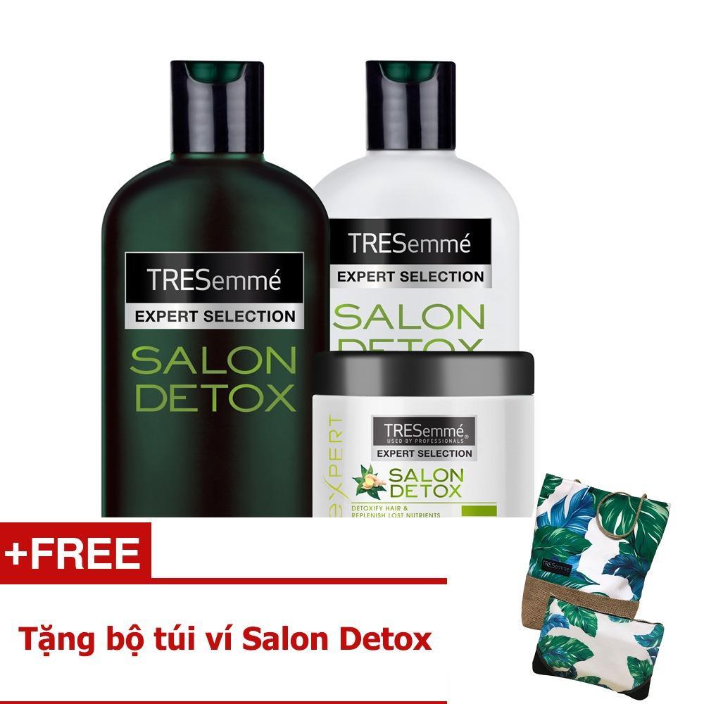 Bộ TRESEMME Salon Detox bao gồm Dầu gội 340g + Dầu xả 340g + Kem ủ 180ml + Tặng bộ túi ví Detox