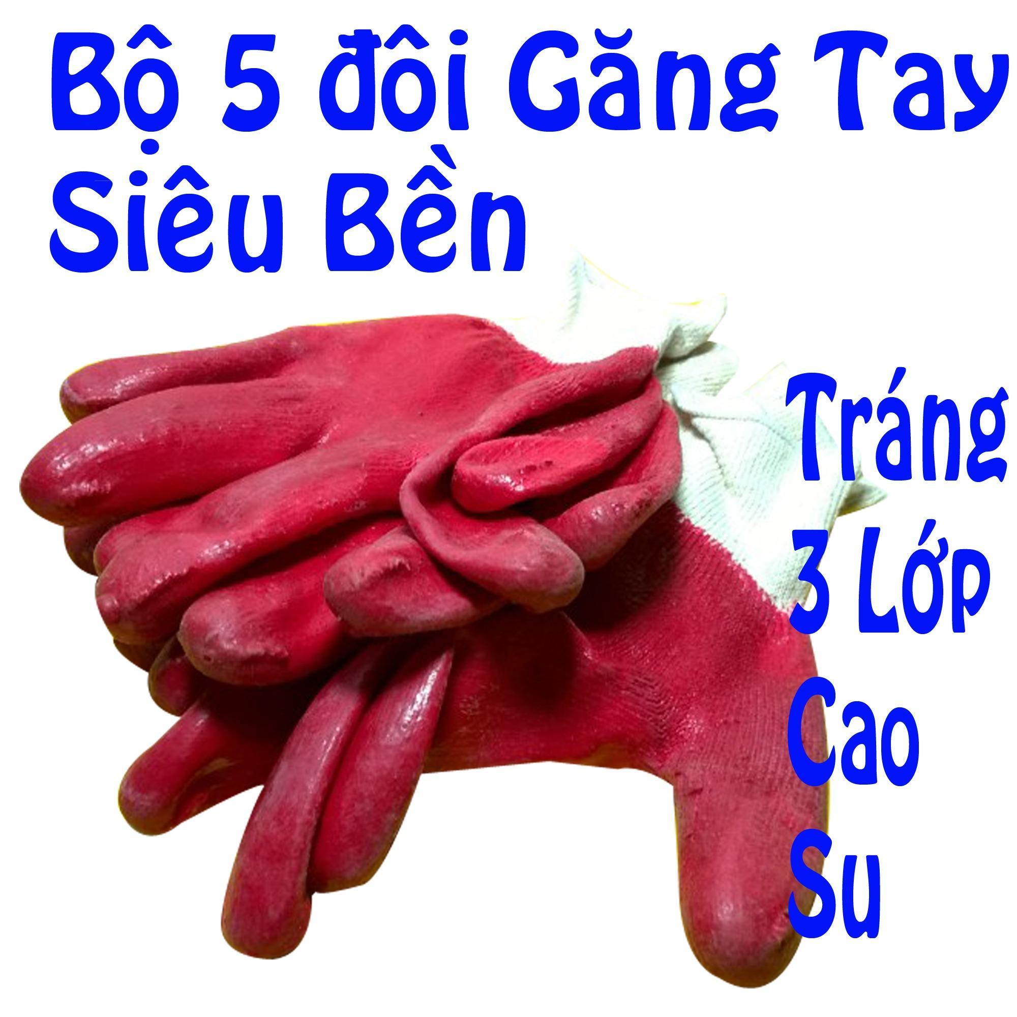 Hình ảnh Bộ 5 đôi găng tay bảo hộ lao động màu ngẫu nhiên - gang tay bao ho lao dong
