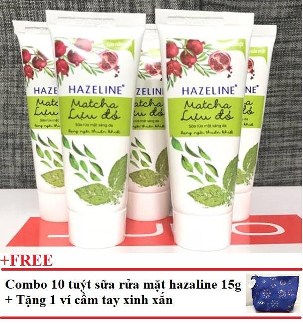 Hình ảnh Combo 10 tuýt sữa rữa mặt Hazeline 15g + Tặng 1 ví cầm tay xinh xắn