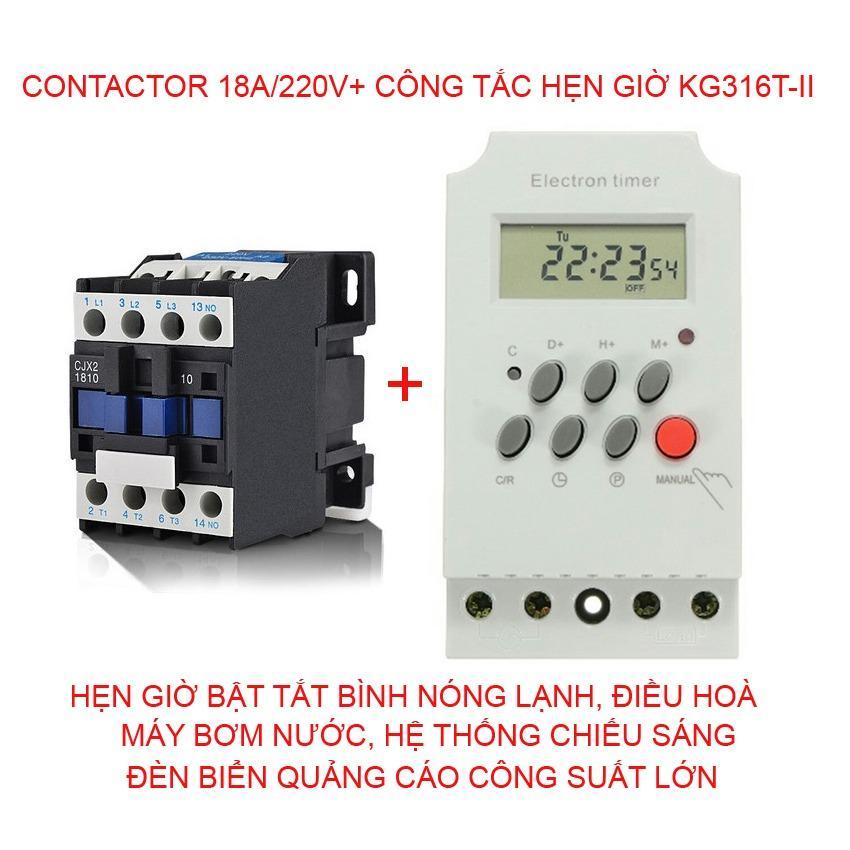 Bán Bộ Cong Tắc Hẹn Giờ Kg316 T Ii Va Contactor 18A 220V Có Thương Hiệu