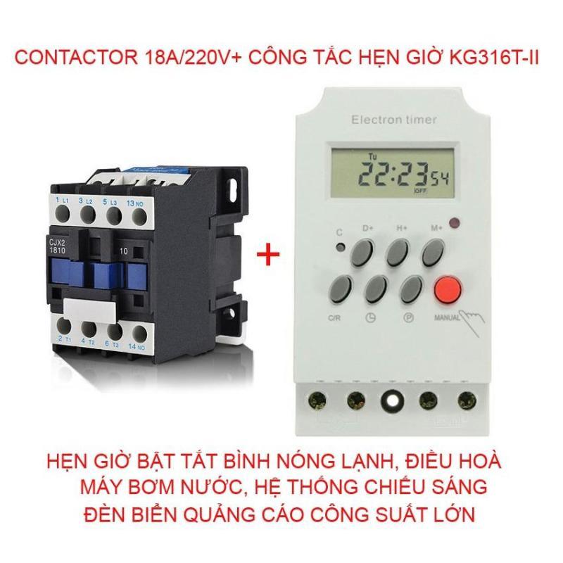 Bộ công tắc hẹn giờ KG316 T-II và Contactor 18A/220v