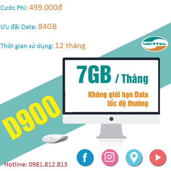 Sim 4G Viettel Trọn Goi 1 Năm 7Gb Thang Goi D900 Trong Hồ Chí Minh