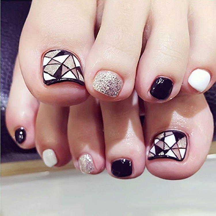 Hình ảnh Bộ 24 nail chân giả siêu hot kiểu cổ điển caro Tặng keo dán nail