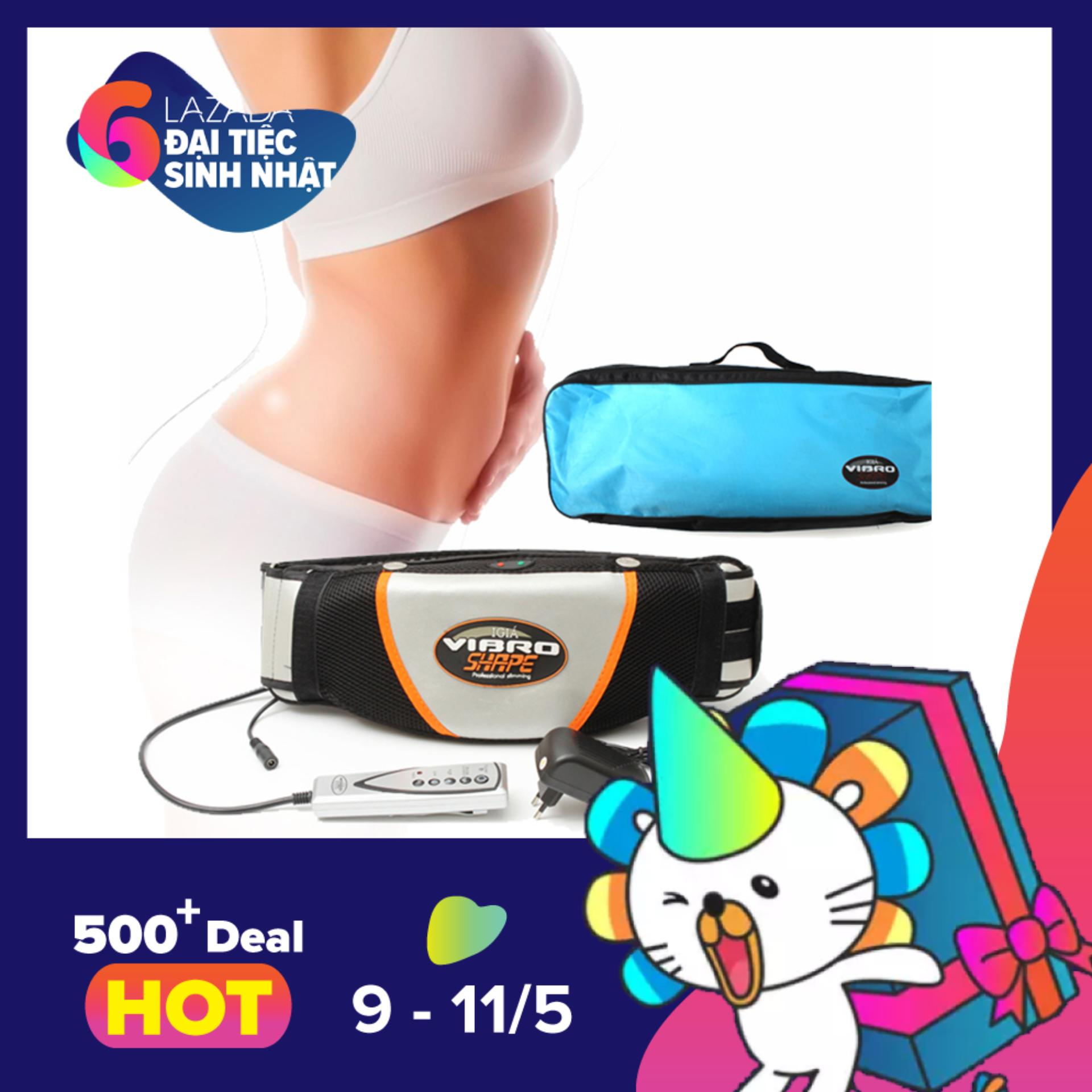 Đai Massage Nóng Và Rung Vibro Shape đặc trị mỡ bụng (Đen) - Kmart