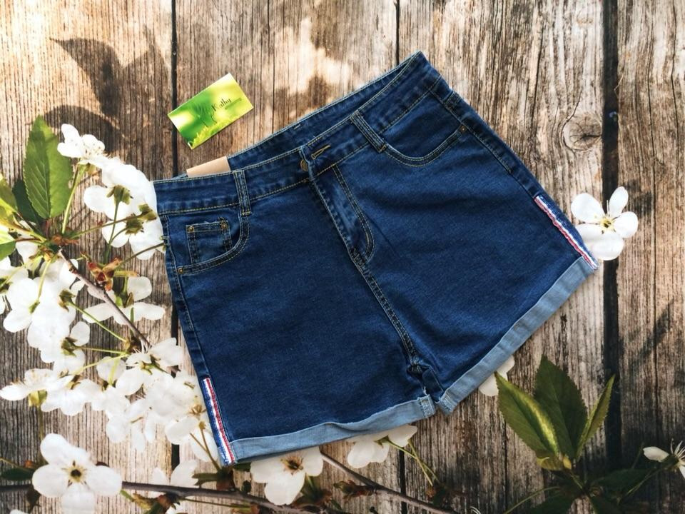 Quần short jean viền sọc size M