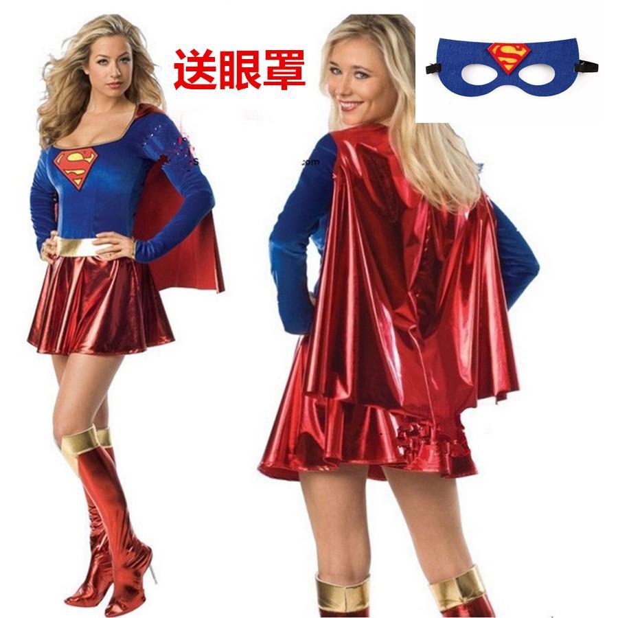 Halloween Supergirl Cosplay Costume Dress Up Pretend Play Costumes Women 58b117eda1c1