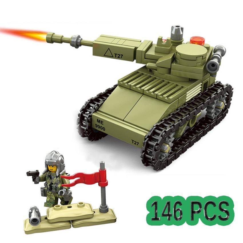 Hình ảnh Bộ ghép hình xe tăng và bộ binh Kazi 84055 (Xanh đen) 146 chi tiết - New4all