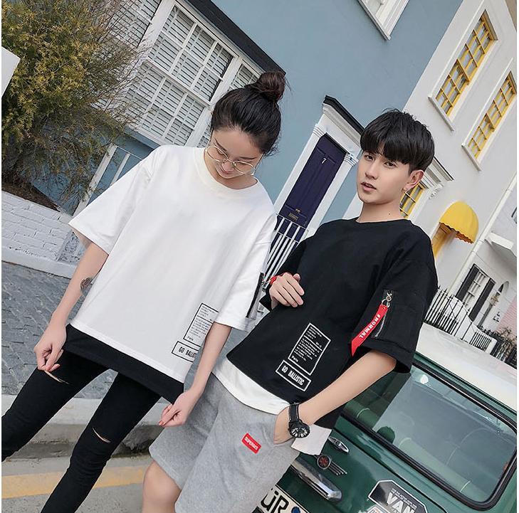 Hình ảnh Áo phông Cao Cấp Dành Cho Nam-Nữ Ngắn Tay Họa Tiết Thời Trang, Khóa Zip Cá Tính TS010