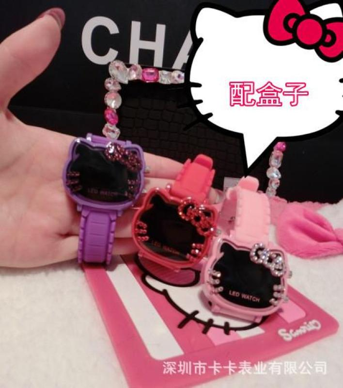 Diamond hello kitty watch Hello Kitty KT cat led electronic cartoon children watch girl watch Malaysia