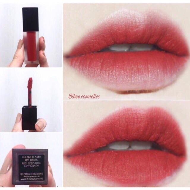 Ôn Tập Trên Son Kem Li A Pieu Color Lipstain Matte Fluid Rd01 Hot Spicy Sieu Đẹp