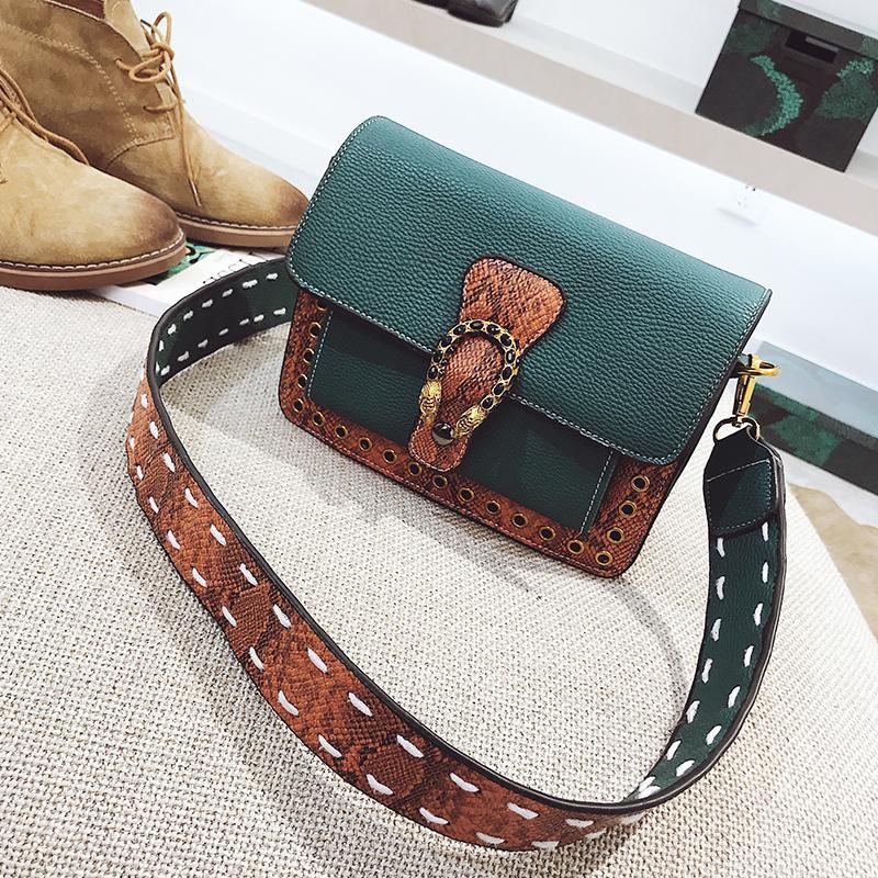 Modern And Trendy/women 2019 New Style Bags Contrast Color Debutante Square Sling Bag Vintage Korean Style Versatile Wide Shoulder Strap Crossbody Bag