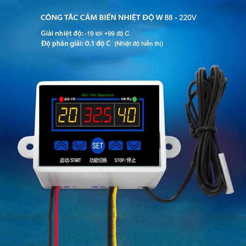 Hình ảnh Công tắc cảm biến nhiệt độ W88-220V gắn nổi với 3 màn hình hiển thị nhiệt độ, đầu cảm biến rời chống nước