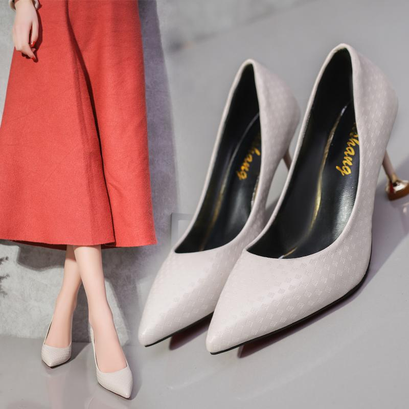 White High Heel Shoes Pointed Thin Heeled Cat With Womens Shoes Black Work Shoes Korean Style Versatile Shoes Spring 2019 New Style By Taobao Collection.
