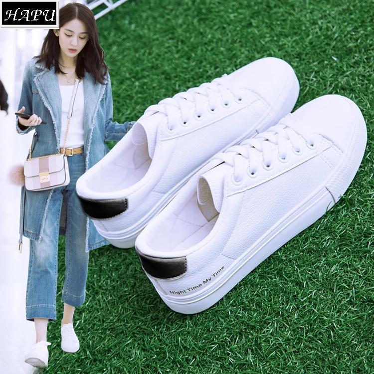 Giay Sneaker Nữ Đế Bằng Phong Cach Han Quốc Hapu Trắng Trắng Hồng Trắng Xanh Hà Nội Chiết Khấu
