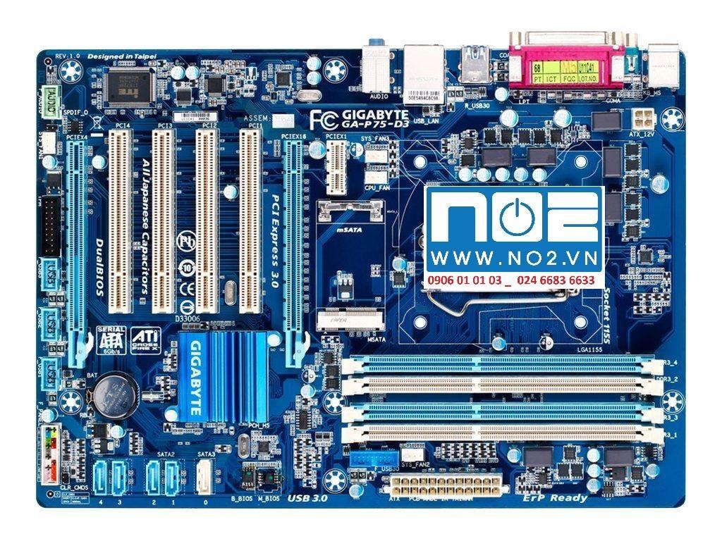 Hình ảnh Mainboard gigabyte GA P75 D3 bốn khe ram full cpu