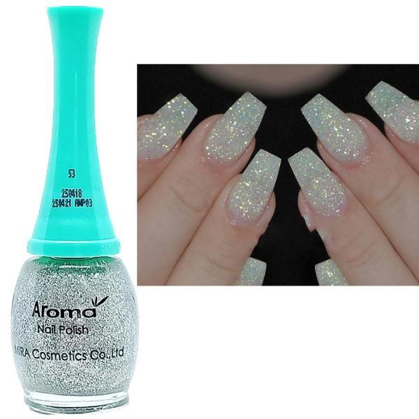 Sơn móng tay siêu sang chảnh Aroma Nails Lacquer Cao cấp Hàn Quốc No.53 (Lấp lánh bạc) 12ml