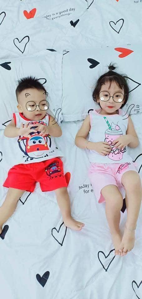 Lyvyshop - Bộ quần áo bé gái mặc hè - Mẫu Kem Hồng, bé từ 10-22kg, cotton 04 chiều xuất khẩu
