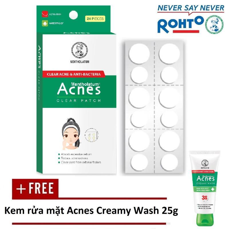 Miếng dán mụn Acnes Clear Patch (24 miếng) + Tặng Kem rửa mặt Acnes Creamy Wash 25g nhập khẩu