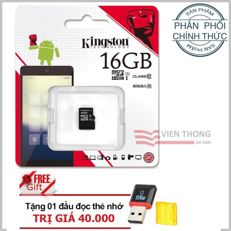 Bán Thẻ Nhớ 16Gb Class10 Kingston Microsdhc Tặng 1 Đầu Đọc Thẻ Nhớ Pt Kingston Người Bán Sỉ