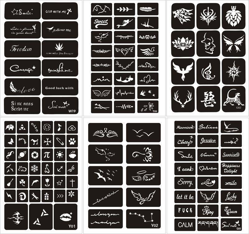 Combo 25 khuôn mẫu vẽ henna tattoo hoặc Inkbox nhập khẩu