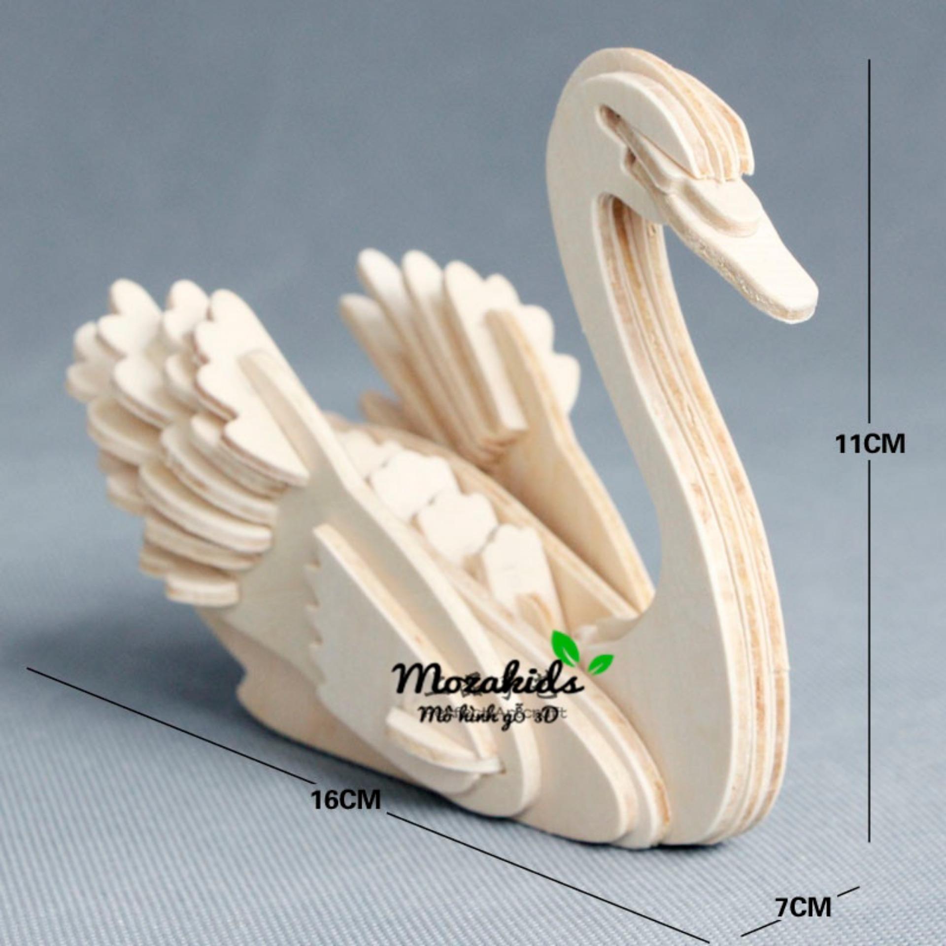 Hình ảnh Đồ chơi lắp ráp gỗ 3D Mô hình Con Thiên nga