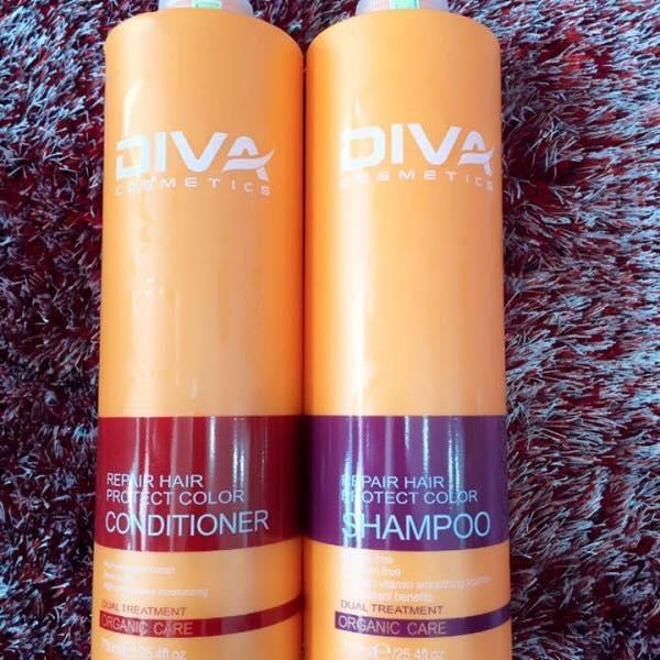Hình ảnh Cặp dầu gội + dầu xả phục hồi và giữ màu tóc Diva (750ml x2)