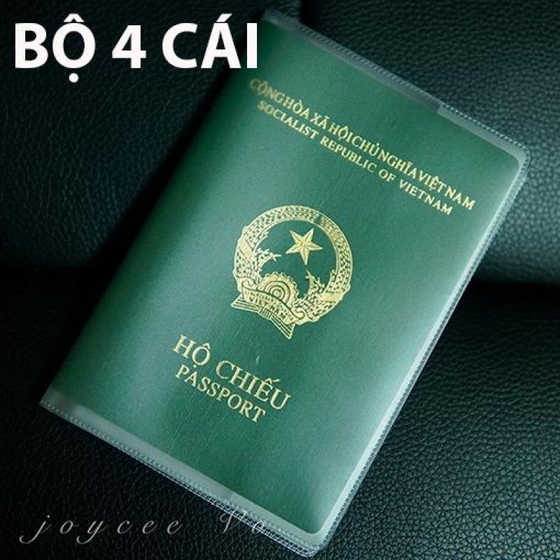 Bộ 4 cái vỏ bao hộ chiếu (passport) dẻo trong có khe đựng vé máy bay và các loại thẻ Joycee Vo JV132x4