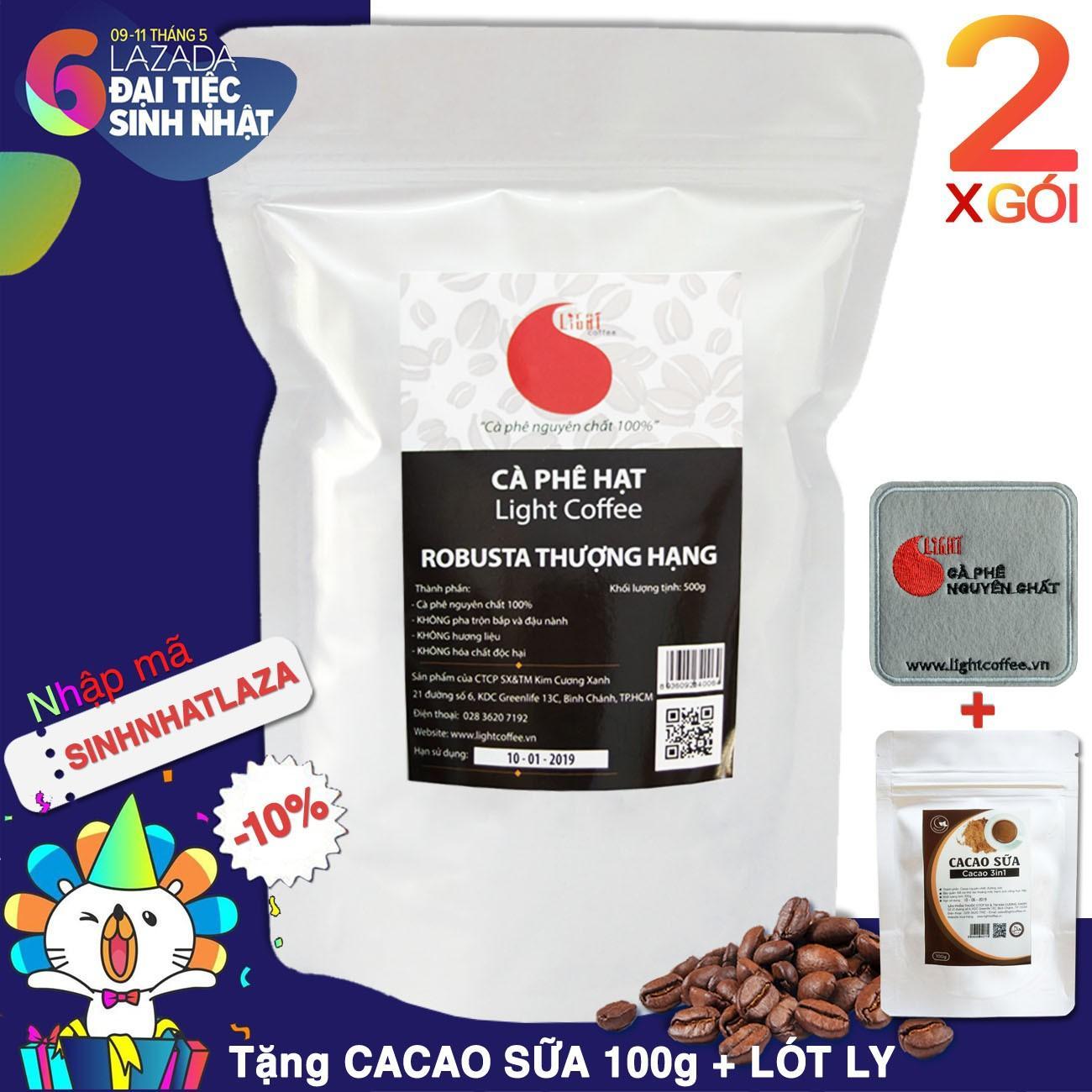 Ôn Tập Ca Phe Hạt Robusta Nguyen Chất 100 Loại 1 Light Coffee 2 Goi 1Kg