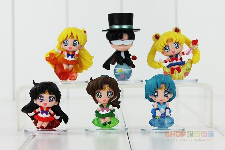 Baru 6 Pcs/lot 6 Cm Anime Sailor Moon Tsukino Tuksedo Usagi Masker Mercury Mars Jupiter Venus Liontin Gantungan Kunci Action Figure Mainan-Internasional