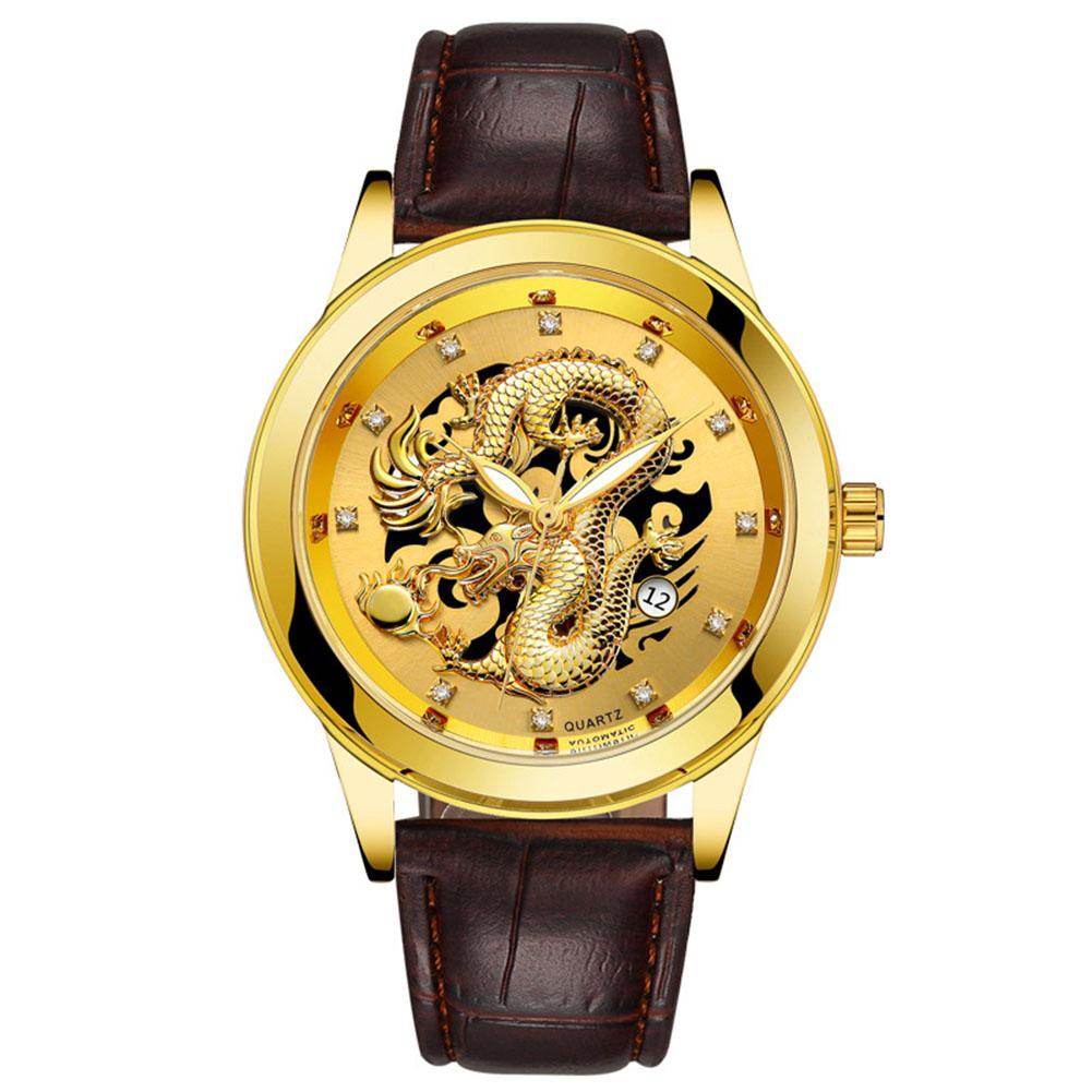Men High-end Retro Quartz Watches Chic Dragon Phoenix Pattern Metal Strap Business Style Luminous Watch Malaysia