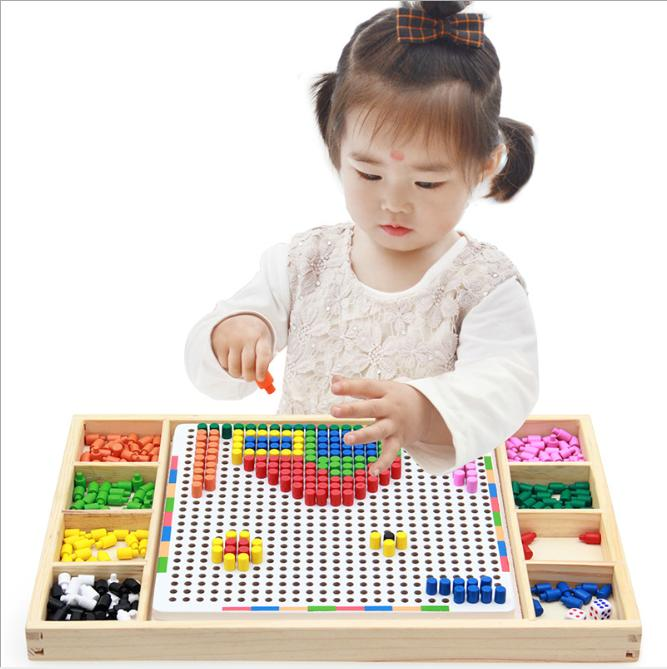 Hình ảnh Đồ chơi lắp ráp hình nấm, Bộ đồ chơi xếp hình thông minh cho trẻ em bằng gỗ giúp trẻ thoả sức sáng tạo và tuyệt đối an toàn.