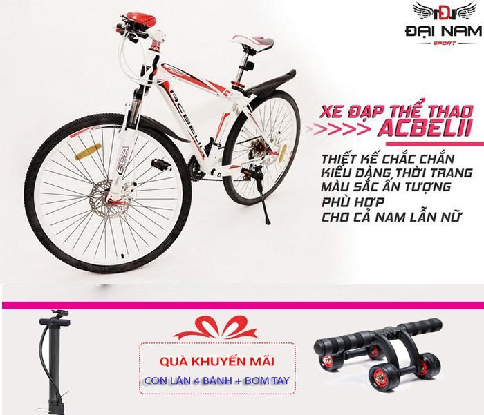 Xe đạp thể thao gấp gọn cao cấp ACBElI (Đỏ trắng) + Tặng con lăn 4 bánh vs bơm tay